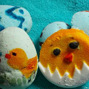 easter eggs and chicks.