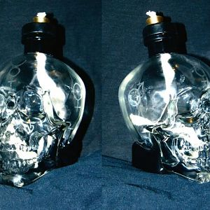 Skull oil lamp from an old Crystal Skull vodka decanter I had laying around.